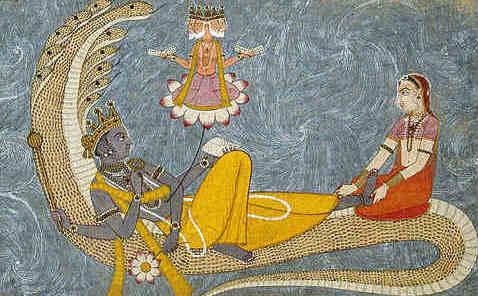 Vishnu mit Brahma auf dem Lotus sitzend und Lakshmi